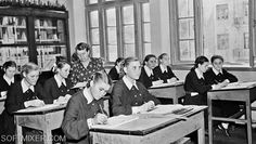 Girls in school uniform, 1955