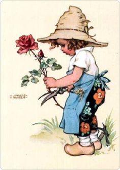 Op klompen......   Jongen die een roos snoeit voor zijn lieve grootmoeder..