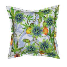 Serama Throw Pillow featuring Passiflora caerulea by joancaronil | Roostery Home Decor