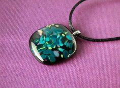 """Black, Aqua, Blue, """"A Scattering of Blue"""" Fused Glass Pendant with Satin Necklace by UniqueGlassTreasures on Etsy"""