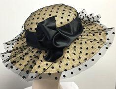 Polka Dot Kentucky Derby Hat, Natural Straw Summer  Womens Hat, , Summer Straw Black Hat