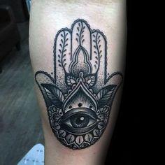 Inner Forearm Tatoo Of Hamsa Hand Mens Shaded Black Grey And White Ink ...