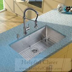 Vigo Undermount Stainless-Steel Kitchen Sink Single-Handle Faucet Grid Strainer Dispenser G- deli