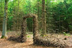German artist Cornelia Konrads creates mind-bending site-specific installations in public spaces, sculpture parks and private gardens around the world. Her work is frequently punctuated by the illusion of weightlessness, where stacked objects like logs, fences, and doorways appear to be suspende