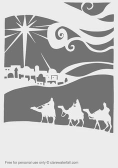 Papercut template of the Three Kings by Clare Waterfall  from Clare Waterfall  Free for personal use - cut away the grey
