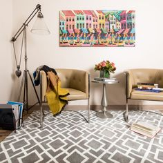 The Harlow Rug takes the edge off a series of vibrantly colored geometric rugs with its soft, microfiber construction. Machine woven in China, Harlow is the ideal selection for any home décor.