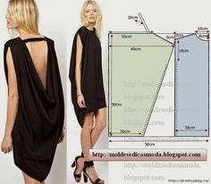 Free sewing pattern for a cool, draped backless dress. More free sewing patterns… Sewing Patterns Free, Free Sewing, Clothing Patterns, Dress Patterns, Easy Dress Pattern, Simple Pattern, Sewing Tips, Free Pattern, Sewing Projects