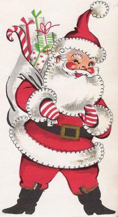 Santa with sack vintage Christmas card image. Vintage Christmas Images, Old Christmas, Christmas Scenes, Christmas Mood, Very Merry Christmas, Retro Christmas, Vintage Holiday, Christmas Pictures, Father Christmas