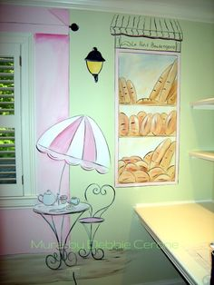 French Mural for Girl's bedroom or nursery. Boulangerie & Cafe. www.CeroneDesigns.com