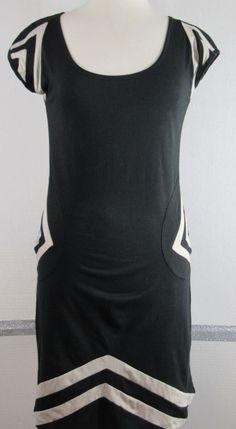 Synergy Organic Cotton Dress Medium Black Gray Cut Out Back Pockets Flare GRUC #Synergy #Sundress #Casual