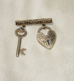 RARE Vintage Heart Shaped Lock and Key Demascene Brass Brooch - Made in Spain