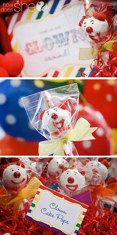 Clown Cake Pops! Perfect for clown themed birthday party. http://www.howdoesshe.com/clown-themed-birthday-party