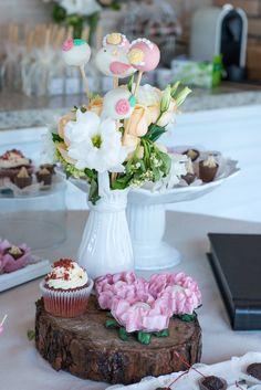 secret garden theme party wood wedding flowers flower arrangement sweet treats red velvet cupcake wood tray cake pops