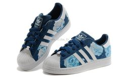 Merveilleux Adidas Superstar 2 D65475 Femmes Bleu marine Rose Blanc Sneakers Prix Réduit