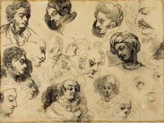 thingswoolike:    Gericault, Theodore (1791-1824) - 1813-14 Sketches of Heads (Art Institute of Chicago, USA) (by RasMarley)