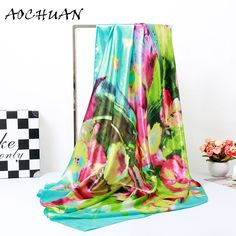 Hot  Satin Square Scarf Women Silk Scarf Luxury Brand Scarf Shawl Silk Scarves  Long Printed Shawls Beach Cover-ups F44 Amsterdam *** AliExpress Affiliate's Pin. Click the VISIT button to find out more