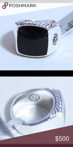 Mans david yurman s.s. and blk onyx ring. Size 12 Sterling silver and black onyx ring size 12 David Yurman Jewelry Rings