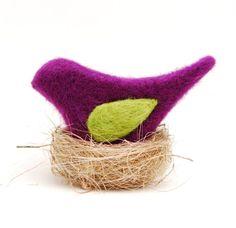 Needle Felted Bird purple phlox plum decor ecofriendly  by feltjar, $18.00