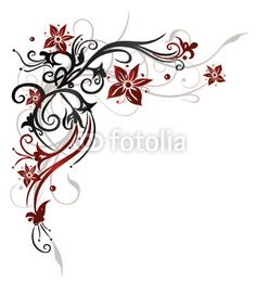 Vector: Ranke, flora, Blume, Blüte, border, frame, black, red on Fotolia