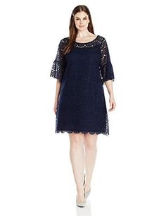 59aadc56cd1c NEW Tiana B Women's Plus Size Lace Trapeze Dress with a 3/4 Angel Sleeve
