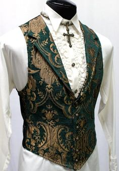 Shrine Clothing Victorian Gothic Vest in Green and Gold Tapestry Moda Steampunk, Costume Steampunk, Steampunk Jacket, Steampunk Clothing, Gothic Steampunk, Steampunk Necklace, Gothic Fashion Men, Victorian Mens Fashion, Mens Fashion Suits