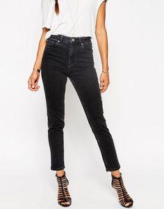Bild 1 von ASOS – Farleigh – Mom-Jeans mit hoher Taille in verwaschenem Schwarz