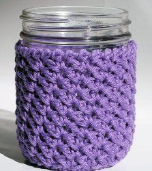 Giving gifts in canning jars are becoming more popular; why not wrap the jar in this Wide Mouth Canning Jar Cozy? It's an easy crochet pattern that's very versatile; you can also turn the jar into a travel mug and use the cozy to protect your hands. Make one using wool yarn for hot drinks and one with cotton yarn for cold drinks.