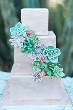 wedding cake with succulents - photo by Kristen Weaver Photography http://ruffledblog.com/rock-quarry-inspired-wedding-ideas