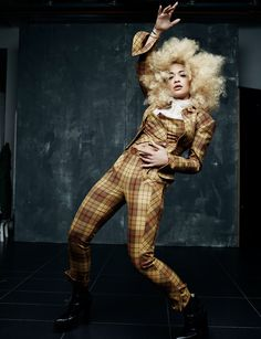 Hot Right Now: Rita Ora stars in a striking new shoot for Rankin, showing off a huge blonde afro and wearing head to toe tartan Rita Ora, Tartan, Blonde Afro, Hunger Magazine, Black Leather Biker Jacket, Fashion Poses, City Style, Vivienne Westwood, Editorial Fashion