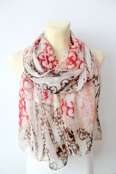 Pink & Brown Floral Silk Scarf   Fashion Women Shawl by LocoTrends