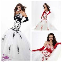 Red & White wedding dress