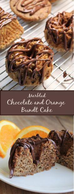 Soft, tender orange cake swirled with chocolate and topped with a chocolate drizzle. Chocolate Deserts, Chocolate Drizzle, Chocolate Orange, Chocolate Flavors, My Recipes, Cake Recipes, Orange Bundt Cake, Swirl Cake, Vegan Muffins