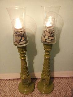 Tall candle holders- thrift store candle stick holders, painted, and dollar store vases epoxied on top. 5 + diy for set :)