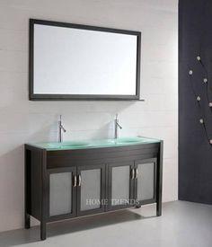 60 in modern furniture bathroom vanity cabinet double sink glass top | www.bigdecorator.com