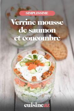 Les verrines de mousse de saumon et concombre sont parfaites pour un apéritif chic lors des fêtes de fin d'année.  #recette#cuisine#verrines#saumon #concombre #aperitif #apero #noel#fete#findannee #fetesdefindannee Seafood, Oatmeal, Salt, Pudding, Cooking, Breakfast, Desserts, Buffet, Chic