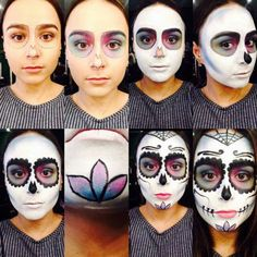Looking for for inspiration for your Halloween make-up? Navigate here for cute Halloween makeup looks. Candy Skull Makeup, Halloween Makeup Sugar Skull, Sugar Skull Costume, Cute Halloween Makeup, Theme Halloween, Candy Skulls, Halloween Skull, Vintage Halloween, Sugar Skull Make Up