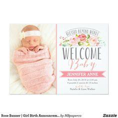 Rose Banner | Girl Birth Announcement