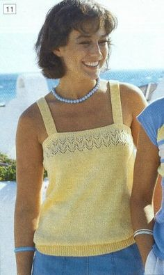 zomer 1985, patroon 11, klik voor een grotere afbeelding Knitting Machine Patterns, Summer Knitting, Knitted Tank Top, Short Tops, Knit Crochet, My Style, Mens Tops, Outfits, Clothes