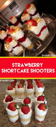 Strawberry Shortcake Shooters Colorful Desserts, Summer Desserts, Recipes With Whipping Cream, Cream Recipes, Strawberry Syrup Recipes, Strawberry Shortcake Dessert, Thanksgiving Deserts, Delicious Desserts, Dessert Recipes