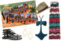 Miami Beach: Milly Dress, Jimmy Choo Sandals, Topshop Hat, & Gorjana Earrings