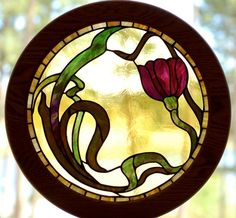 Nouveau Floral Stained Glass Window -by LaWathasGlassArt