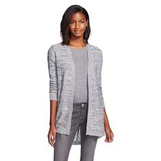 Women's Layering Sweater with Pointelle Back - Heather Grey - Heather Grey