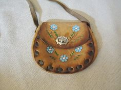 Small Leather Tooled Floral Vintage 1960's by oliveyouvintage
