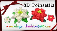 DIY Tutorial for how to make Rainbow Loom Poinsettia Charm/Holiday/Christmas Flower/Ornament - How to Loom Band Tutorial Christmas Series Loom-less/Hook o. Rainbow Loom Tutorials, Rainbow Loom Patterns, Rainbow Loom Creations, Rainbow Loom Bands, Rainbow Loom Charms, Loom Bands Tutorial, Diy Tutorial, Rubber Band Crafts, Rubber Bands