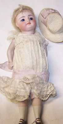 "ANTIQUE 6.5"" ALL BISQUE FRENCH DOLL VTG CLOTHES MOHAIR WIG GLASS EYES 