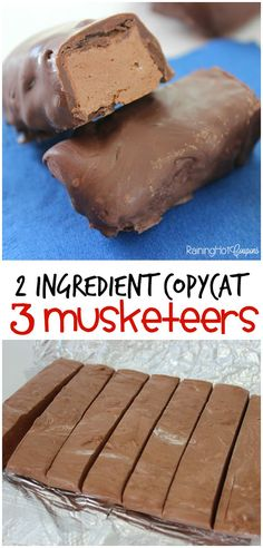 2 Ingredient Copycat 3 Musketeers 2 Ingredient Copycat 3 Musketeers - These chocolate bars only take 2 ingredients and are delicious! Fudge Recipes, Candy Recipes, Sweet Recipes, Cookie Recipes, Dessert Recipes, Just Desserts, Delicious Desserts, Yummy Food, Delicious Chocolate