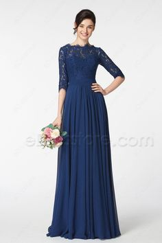 The navy blue bridesmaid dress features scalloped O neckline and lace top, 3/4 sleeves, pleated waist continued with gathered A Line skirt finishing with floor length.