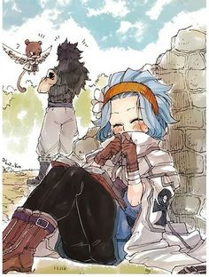 Gajeel give Levy his jacket - Fairy Tail