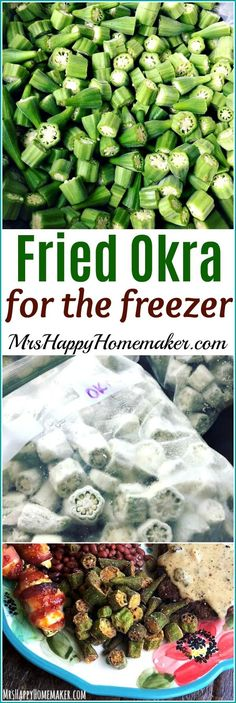 Preserving Okra - Making Fried Okra for the Freezer - Mrs Happy Homemaker Frozen Okra Recipes, Pickled Okra Recipes, Canning Recipes, Vegetable Recipes, Oven Recipes, Fried Okra Recipe Frozen, Easy Recipes, Barbecue Recipes, Thai Recipes