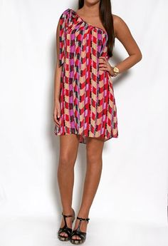 Printed Chiffon One Shoulder Dress with Bow #privategallery #pgpackinglist